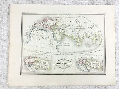 1846 Antique World Map Ptolemy Strabo Ancient Greek Rare Hand Coloured Engraving