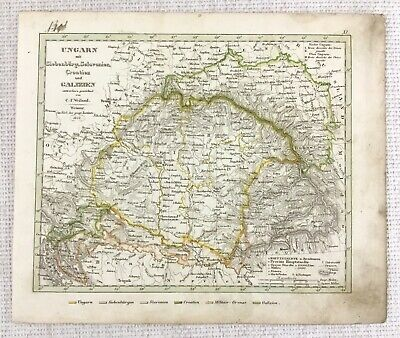 1842 Antique Map of Hungary Croatia Slovenia Rare Hand Coloured Engraving