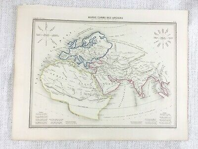 1846 Antique Map of The Ancient World Early Christianity Hand Coloured Engraving