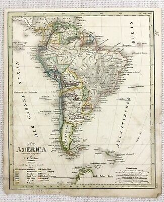 1842 Antique Map of South America Rare Hand Coloured Engraving