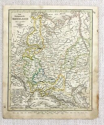 1843 Antique Map of Russia Russian Empire Rare Hand Coloured Engraving