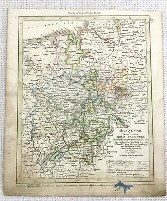 1843 Antique Map Germany Hanover Prussia Rare Hand Coloured Engraving