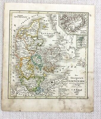 1843 Antique Map of The Kingdom of Denmark Rare Hand Coloured Engraving