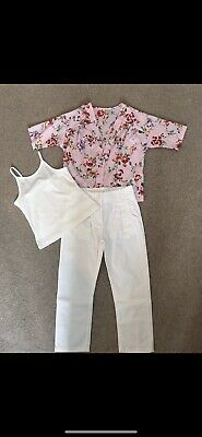 NEXT White Trousers & TU Top Outfit - Perfect Condition - Age 7