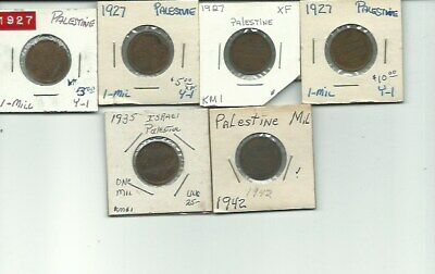 Palestine - Lot (6) 1 Mil Coins - 1927(4)/1935/1940 -  FREE USA SHIPPING! Better