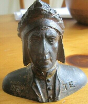 Small Heavy Dante Bust Metal Bronze Brass? Figure