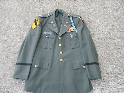 US Army Green 4 Pocket Officer's Jacket with 1st Cavalry Div Patch, Attributed
