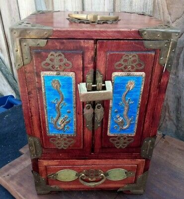 Antique Chinese Lacquer Jewellery  Box Cabinet DRAGON, Silk Lined Drawers