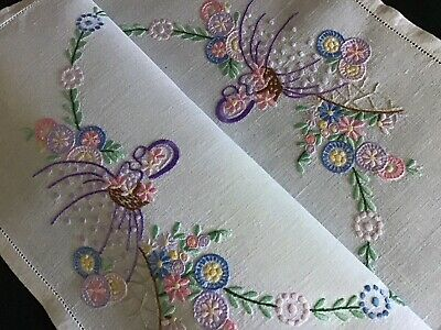 Beautiful Vintage Linen Hand Embroidered Tray Cloth~ Crinoline Lady