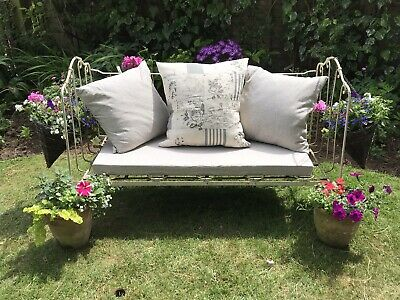 French Antique Wrought  Iron Folding Day Bed Inc 2 Cushions And Mattress