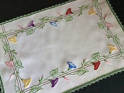Stunning Vintage Linen Hand Embroidered Tray Cloth/Table Centre~Morning Glory