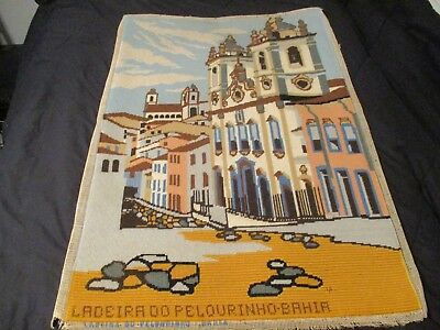 Crewel Hawaii 1972 Ladeira 00 Pelourinho - Bahia 3 X 2 Feet Honolulu Embroidery