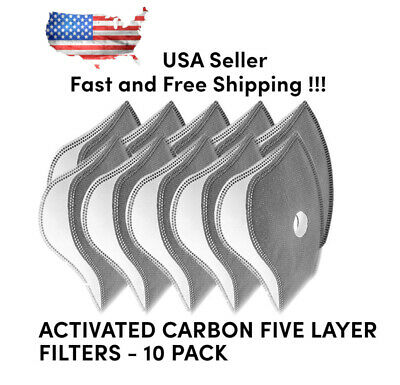 10Pcs Sport Cycling Face Mask Activated Carbon PM2.5 Filters