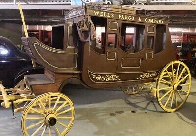 Rare Vintage Antique Wells Fargo Stagecoach Horse Drawn Carriage Concord