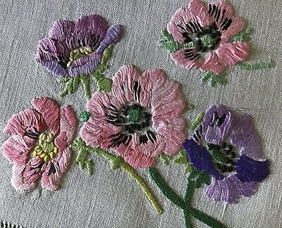 Pair Gorgeous Vintage Irish Linen Hand Embroidered Tray Cloths~ Anemones