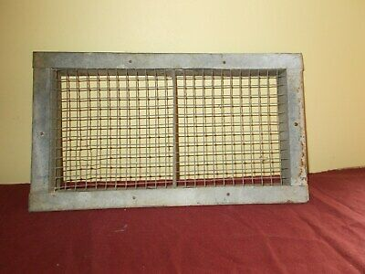Vintage Galvinized Air Vent Heater  Register Hand Made Wire Mesh Primitive