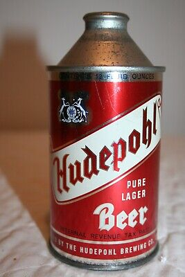 Hudepohl Pure Lager Beer 12 oz IRTP 3.2%BNMT7% HP cone top from Cincinnati, Ohio