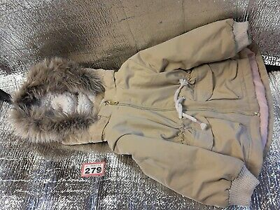 Hooded Parker Coat Jacket Age 9-12 months Girls.H&M Beige & gold fur lined hood