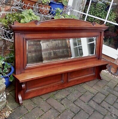 Gorgeous Victorian Mahogany Over Mantel~Bevelled Rectangular Mirror And Shelf
