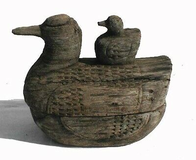 Antique Hand Made Wooden Folk Art, Duck & Chick Box