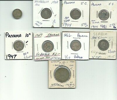 Lot Of 9 Vintage Foreign Silver World Coins -Free Usa Shipping
