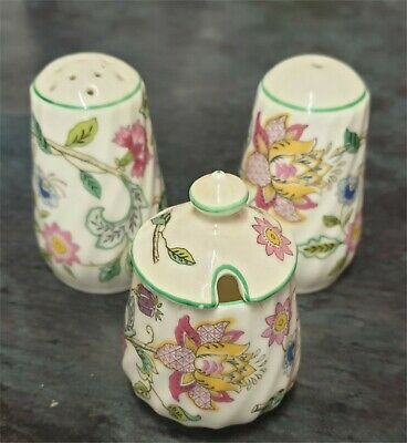 MINTON Salt & Pepper Shakers Plus Lidded Mustard Pot made for HADDON HALL