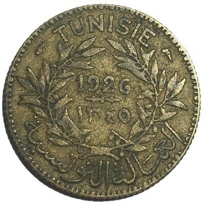 French Tunisia, 1 Franc Coin, 1926/AH 1345, Rare Date Combination