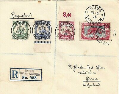 German Colony Kamerun Cameroons 1919 British Occupation Cover Overprinted Stamps