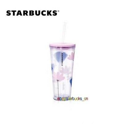 Starbucks Tumbler 2020 China Summer Pink blue flowers 20oz straw Cold Water Cup
