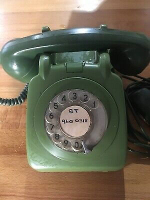 Vintage 1970's BT/GPO 706F 2 Tone Green Rotary Dial Telephone.