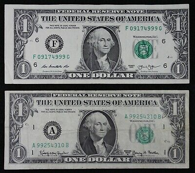 ERRORS, Two $1 FRN's  Federal Reserve Notes, 2013 cutting and 1963A overprint