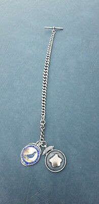 Solid Silver Albert Chain With T Bar And Tags