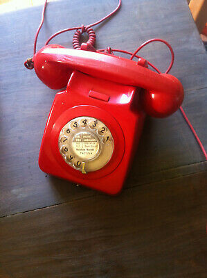 Vintage RedTelephone GPO  Desk Phone - Rotary Dial On/Off Button Analogue classi