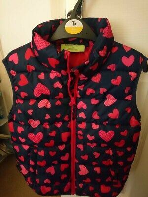 Mountain Warehouse Girls 7-8 years Gilet - dark blue with pink hearts-great cond