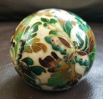 Cloisonne brass paperweight green and brown butterflies and leaves by Robert Kao