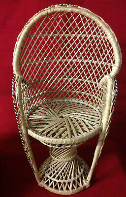 Vintage small peacock wicker chair, retro, boho, plant stand, doll, 1970's