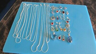 925 marked Jewelry lot, chain, earings, pendant Items are in U.S.