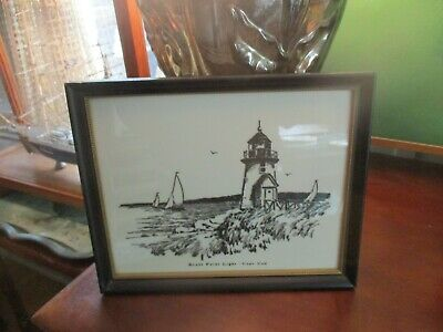 Rare Antique Painting on Glass Brant Point Light house Nantucket 1940's Boats