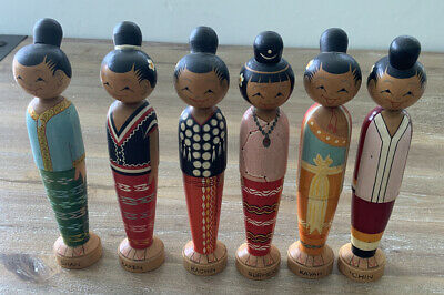 "Vintage Kokeshi Like japanese Wooden Dolls - 7"" Tall - Group Of 6"