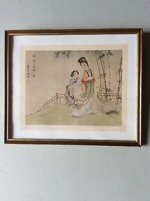 Framed figurative painting on silk