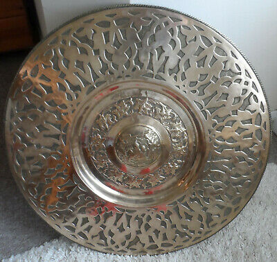 Antique Large Asian Brass Charger, Hand Chased 4kgs