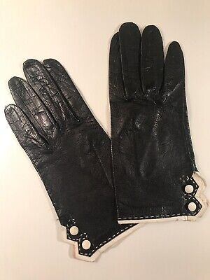 Authentic Vintage Womens Gloves Italian Suede Leather Black White 50s Accessory