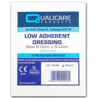 100 Sterile Dressings 5 x 5cm Qualicare Low Adherent First Aid Cuts Burns Wounds