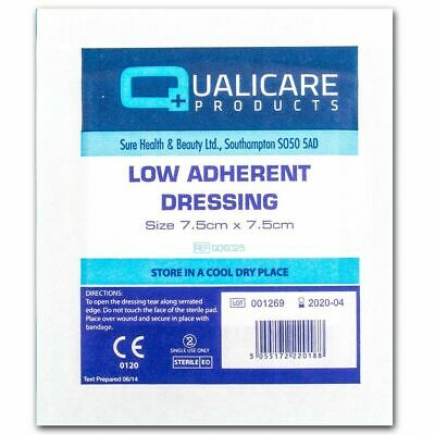 100 Sterile Dressings 7.5 x 7.5cm Qualicare Low Adherent First Aid Cuts Burns