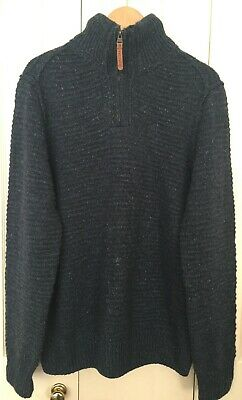 Fat Face Women Wool Blend Navy Zip Neck Sweater Jumper M