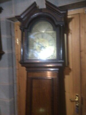 Oak Brass Faced Grandfather Clock 8 Day (William Webb Wellington)