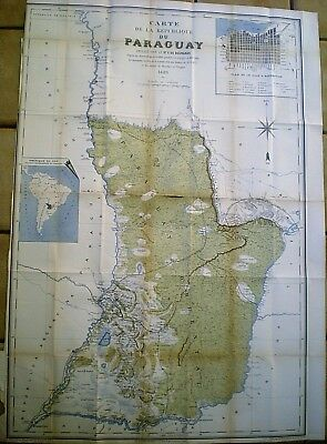 Rare 1889 French Map Of Paraguay ~ De Bourgade ~ Transcontinental Railway