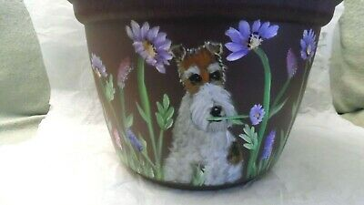 Wire Fox Terrier Hand Painted Planter Large