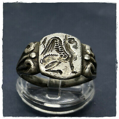 ** GRYPHON-GRIFFIN ** ancient  LEGIONARY SILVER Roman ring !II 6,75g