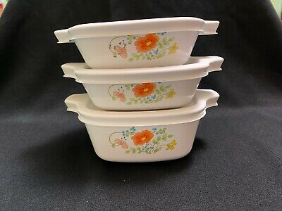 Vintage Corning Ware - WILDFLOWER - 3 petite dishes with plastic lids - 33
